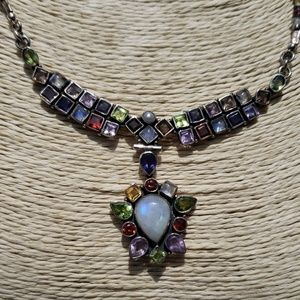 Moonstone Peridot Sterling Silver Necklace